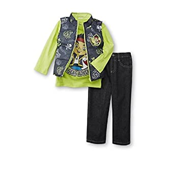 Disney Jake & The Neverland Pirates Toddler Boys 3 Piece Outfit - Vest, Shirt, Pants