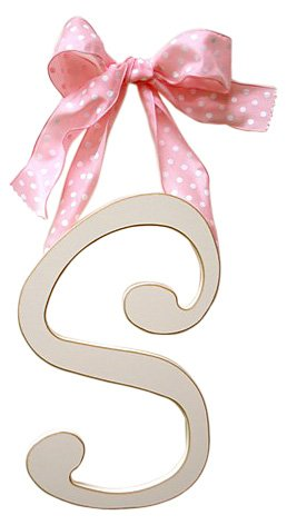 New Arrivals Wooden Letter S with Pink Polka Dot Ribbon, Cream