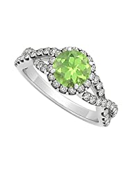 August Birthstone Peridot With CZ In Criss Cross Shank Halo Engagement Ring 1.50 CT TGW