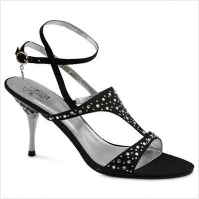Women's Lauren T-Strap Color: Black Satin, Size: 6