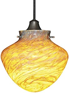 WAC Lighting JTK-F4-427AM/WT Juno Series Red Rock Track Pendant with Amber Glass Shade, White