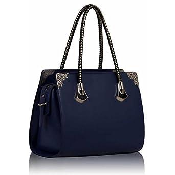 Dunkelblau Metal Trim Handtasche Doppel Griffe elegante Damen Umhängetasche