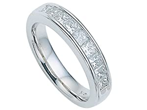 Karina B Princess Diamonds Band in Platinum 950 Size 7.5