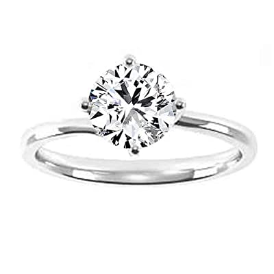 0.89 Carat D/VS1 Round Brilliant Certified Diamond Solitaire Engagement Ring in 18K White Gold