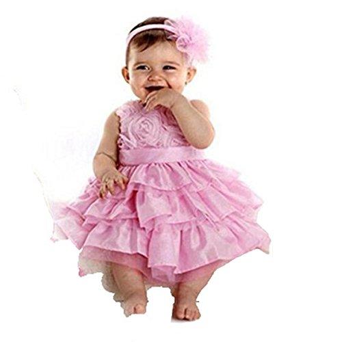EJY Baby-Kind-Ballettröckchen-Rock Outfit Bow Kleid + Blumen-Stirnband-Bekleidung, Rosa, 18-24 Monate