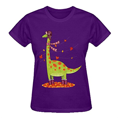 Firebo Dinosaur In Boots Basic Round Neck Tee Shirts For Women Purple