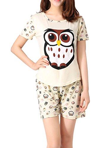 VENTELAN Women's Cute Owl Printed Sleepwear Pajama Sets Comfy Summer Shorts