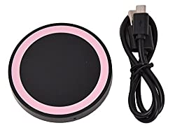 "KARPâ""¢ Round Circle Wireless Mini Charging Pad For Samsung Galaxy S6/S6 Edge, Nokia Lumia, Google Nexus, HTC, LG, SHARP and Other Qi-compliant Devices (Pink On Black)"