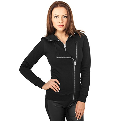 Urban Classics Ladies Biker Sweat Jacket Felpa jogging donna nero XS