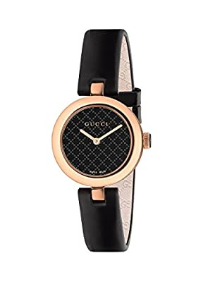Gucci Women's Ya141501 Diamantissima Analog Display Swiss Quartz Black Watch