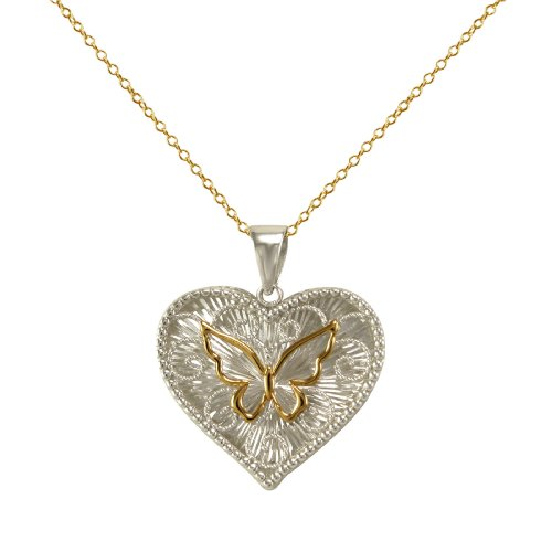 Bonded 10k Gold and Sterling Silver Butterfly Filigree Heart Pendant Necklace , 18
