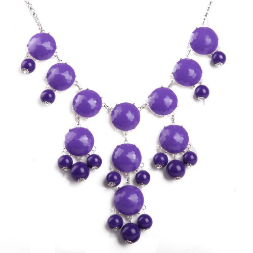 Bubble Necklace, Purple Silver Necklace, Statement Necklace (Fn0508-S-Purple)