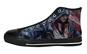 Custom Assasins Creed Figure Men's Classic Lace-up High Top Rubber Sole Canvas Shoes