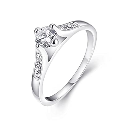 [Eternity Love] Women's Pretty 18K White Gold Plated Solitaire CZ Stone Engagement Rings Best Promise Rings for Her Anniversary Crystal Wedding Bands TIVANI Collection Jewelry Rings