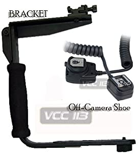 Rotating Flash Bracket Grip + eTTL eTTL2 Off Camera Flash Cord FOR CANON EOS Rebel T3i, T3, T2i, 60D, XT XTI XSI T1I 1Ds 1D 20D 5D 300D 350D 450D 400D II 10D T2 TI K2 GII 7N 7NE 20D 30D 40D 50D 1000D 550D