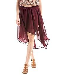 Shuffle Women's Skinny Skirt (1021517501_Burgandy_Medium)