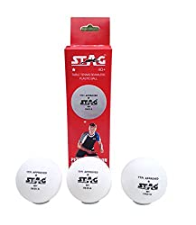 Stag 1 Star Table Tennis Plastic Ball, 2 Packs of 3, (White)