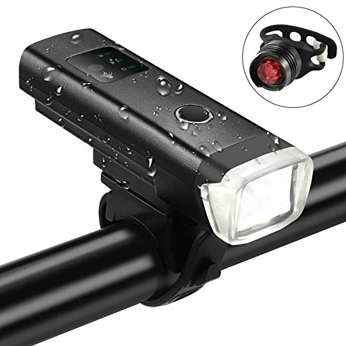 Gokotta Bicycle Front Headlight with Free Tail Lightï¼?USB Rechargeable Waterproof Bike Lights Led with 4 Flashlight Modes Automatic Light Perception for Mountain Road Street Cycling