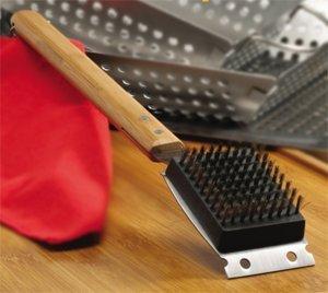 Danesco BBQ Grill Brush with Hanger, Black