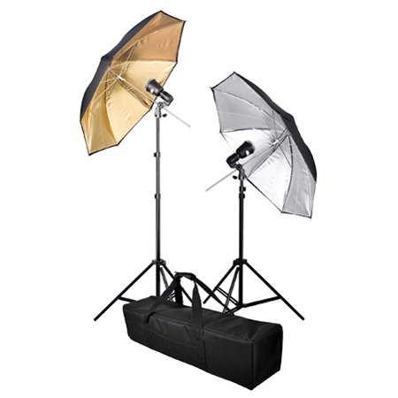 "Durable Photo Lighting Kit 32"" Inch In Gold Silver Umbrella 2 Flash Lights With Case Professional Photographic Studio Equipment"