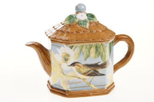 Certified International Botanical Birds Teapot, 34-Ounce