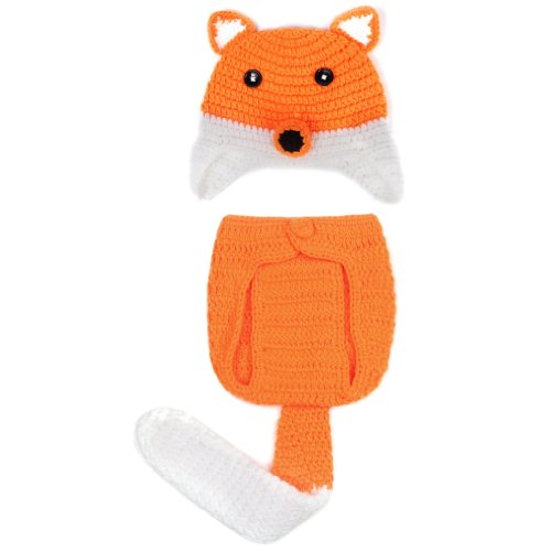 Double Baby Knit Crochet Cartoon Fox Photo Costume Set Orange White 0-24 Months