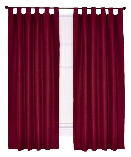 Ellis Curtain Crosby Thermal Insulated 160 by 84-Inch Double Width Tab Top Foamback Curtains, Bordeaux