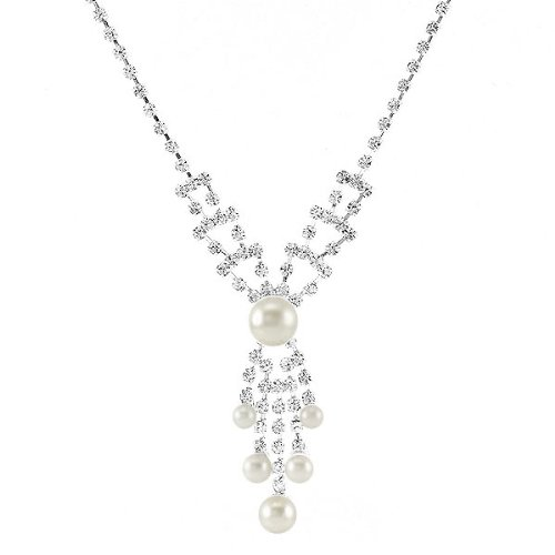 Perfect Gift - High Quality Elegant Fashion Pearl Necklace with Silver Swarovski Crystal (3695)