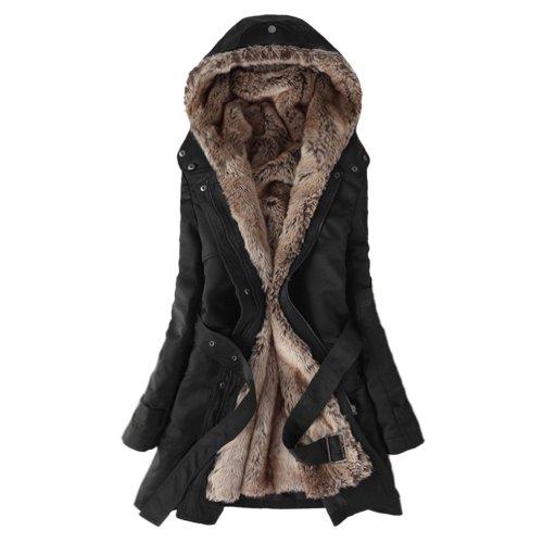 Hee invernale addensare pile pelliccia sintetica Grand extra-caldo cappotto nero M