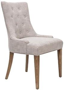 Safavieh Mercer Collection Erica Button-Tufted Side Chair, Khaki Grey
