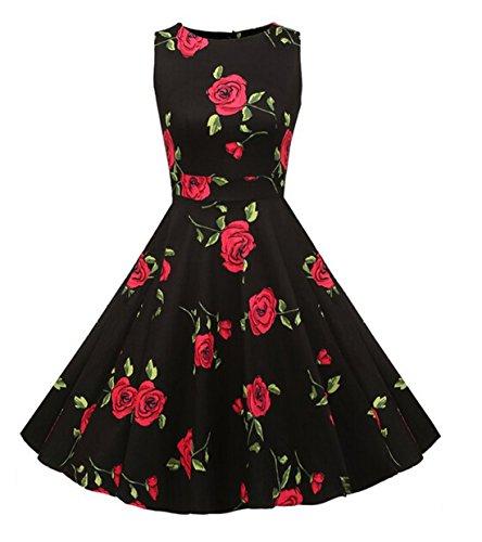 Vintage 1950 vestito da cocktail del vestito da partito picnic Floral Spring Garden Party (S, Black Rose)