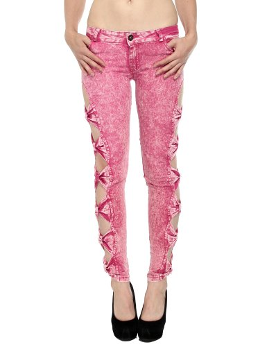 Vintage Inspired Skinny Jeans W/ Bowknot Closures On Full Leg, Rose