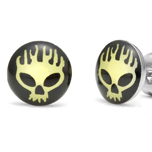 Flaming Skull Biker Style Men's Stud Stainless Steel Earrings (Yellow Black)