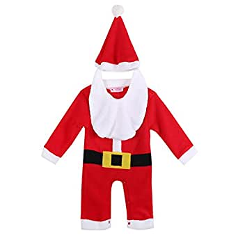 Baby Toddler Christmas Santa Claus Costume Romper+ Hat+bib 3-piece Outfit