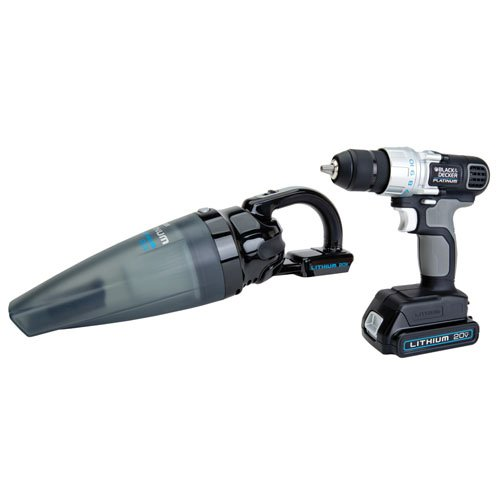Black & Decker Platinum BDH2000SDL 20-Volt Max Lithium Ion Slide Vac & Drill Combo Kit (Black And Decker 20 V Kit compare prices)