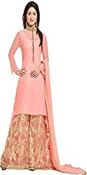 Yashvi Arts Women's Pink Cotton Embroidered Salwar Suit Dress Material -Free Size Plazzo (YA1030)