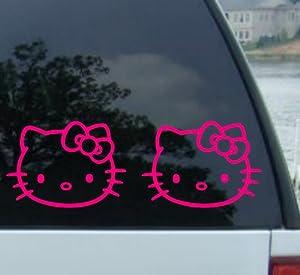 "(2) 5"" HELLO KITTY - HOT PINK - Cat Feline - Car, Truck, Notebook, Vinyl Decal Sticker by Ikon Sign & Design"