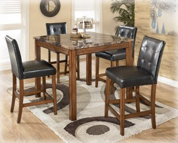 Signature Design by Ashley D158-233 Theo Collection Counter Height Dining Room Table and Barstools, Set of 5, Warm Brown