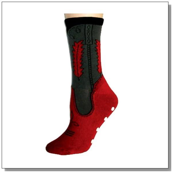 Cowboy Non Skid Slipper Socks-One Size, Red/Grey Cowboy