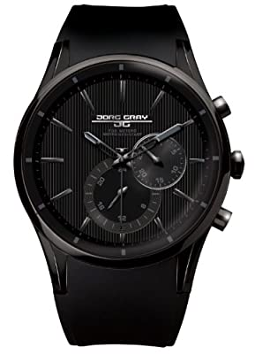 Jorg Gray 5100 All-Black Multi-Function Watch - Silicone Strap and 100 Meter WR