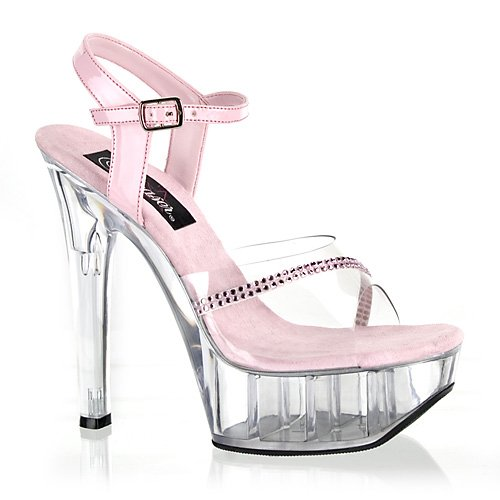 Women's 5 3/4 Inch Square Heel Ankle Strap Platform Sandle (Baby Pink/Rhinestone;12)