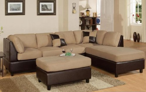 3pcs Sectional Sofa Set with Ottoman in Hazelnut Finish