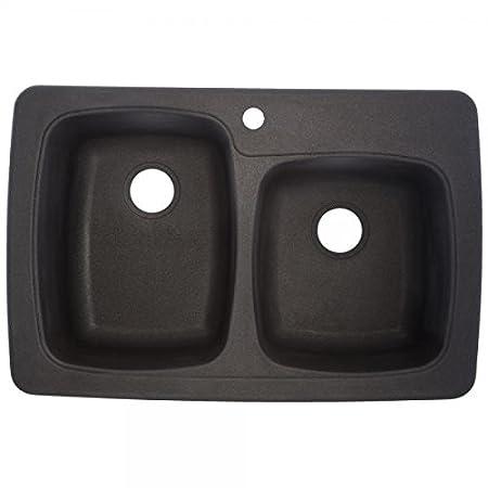 Franke USA OGR3322-1 Double Offset Granite 9-Inch/8-Inch Deep, Graphite