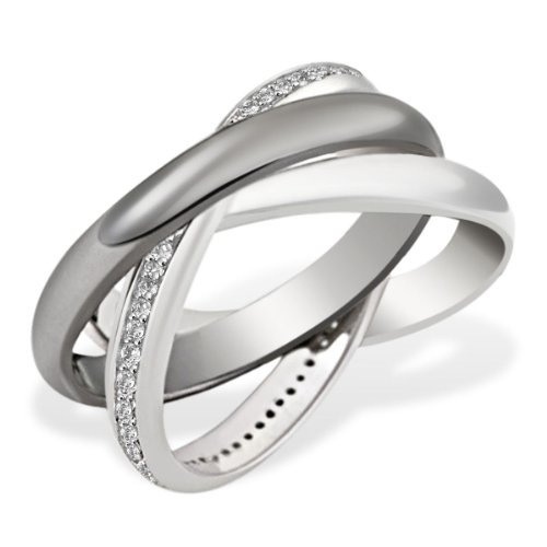 Goldmaid Sterling Silver 3 in 1 Ring 64 Cubic