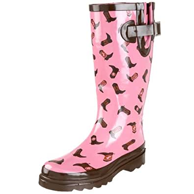 Western Chief Women's Giddy Up Rain Boot,Pink,6 M US