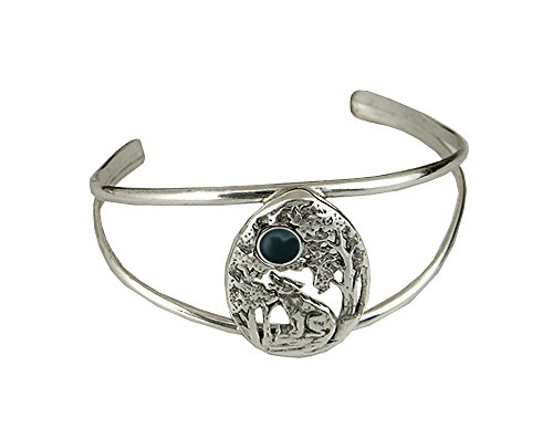 The Howling Wolf Bracelet in Sterling Silver with Bloodstone Handmade in America