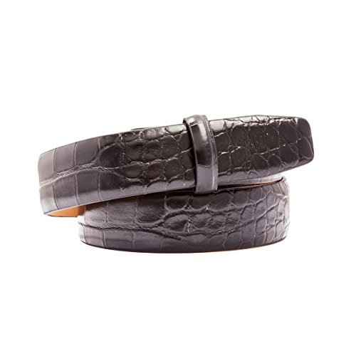 "Trafalgar Alligator Embossed Leather 1"" Belt Strap Black Size 34"