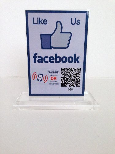 Facebook Like T-shape Display Stand- with NFC tag and QR code (two-sided)