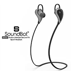 SoundBot® SB562 Stereo Bluetooth 4.1 Sports-Active Wireless Headset High-Performance Earbud Earphone w/ Intuitive Voice Prompt, 33ft Wireless Range, for Wireless Hands-Free Talking & Music Streaming
