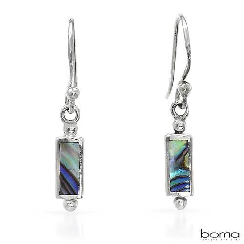 BOMA Stylish Earrings With Genuine Abalone Shells Crafted in 925 Sterling silver Length 23mm